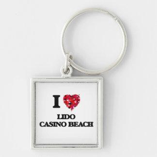 I love Lido Casino Beach Florida Silver-Colored Square Key Ring