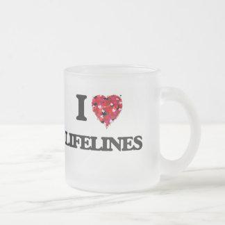 I Love Lifelines Frosted Glass Mug