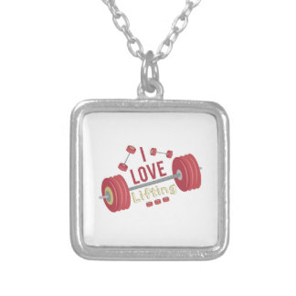 I Love Lifting Square Pendant Necklace