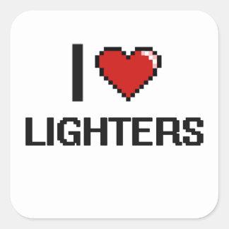 I Love Lighters Digital Retro Design Square Sticker