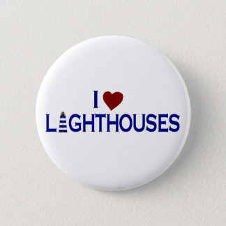 I Love Lighthouses 6 Cm Round Badge