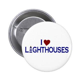I Love Lighthouses 6 Cm Round Badge