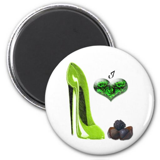 I Love Lime Green Stiletto Shoe and Chocolates Art Magnets