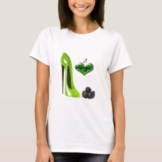 I Love Lime Green Stiletto Shoe and Chocolates Art T-Shirt