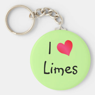 I Love Limes Basic Round Button Key Ring