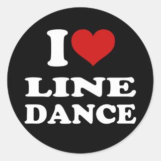 I Love Line Dance Round Stickers