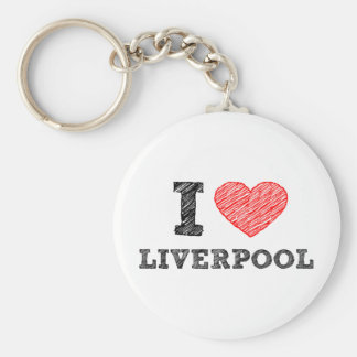 I love Liverpool Basic Round Button Key Ring