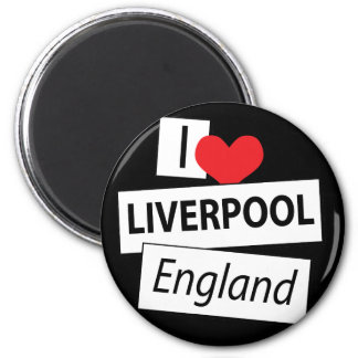 I Love Liverpool England 6 Cm Round Magnet
