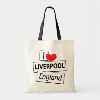 I Love Liverpool England Tote Bags