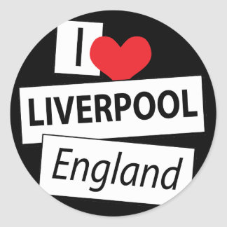 I Love Liverpool England Classic Round Sticker