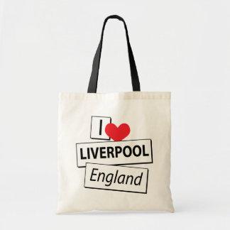 I Love Liverpool England Tote Bags