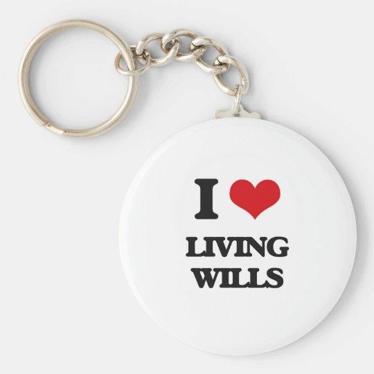 I Love Living Wills Basic Round Button Key Ring