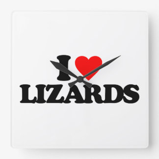 I LOVE LIZARDS SQUARE WALL CLOCK
