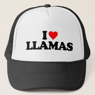 I LOVE LLAMAS TRUCKER HAT