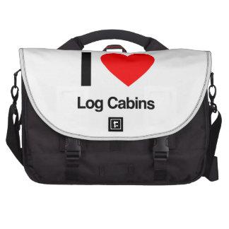 i love log cabins laptop bag