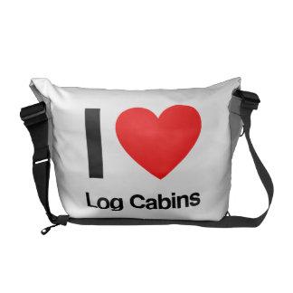 i love log cabins messenger bag