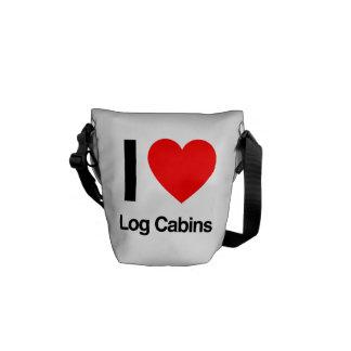 i love log cabins messenger bags