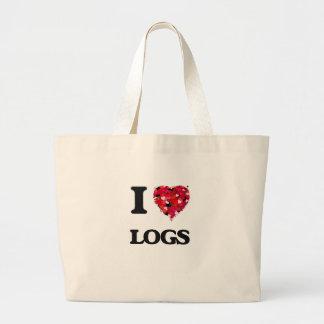 I Love Logs Jumbo Tote Bag