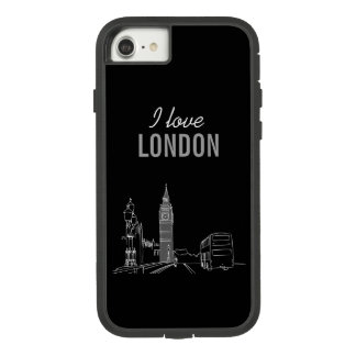 I love London Black White Cool Stylish Contrast Case-Mate Tough Extreme iPhone 8/7 Case