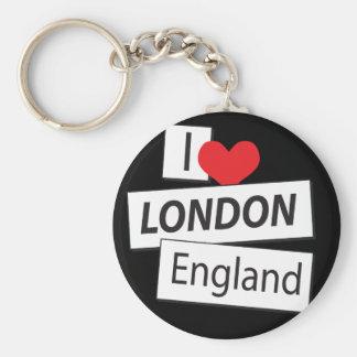 I Love London England Basic Round Button Key Ring