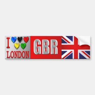 I Love London GBR Great Britain Union Jack UK flag Bumper Sticker