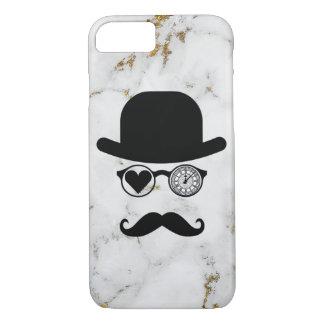 I Love London Moustache Case Marble White