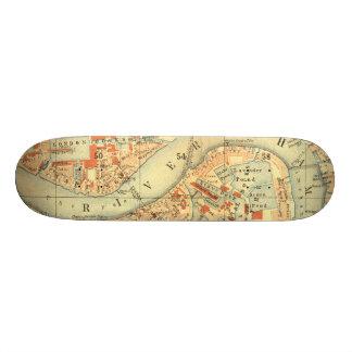 I Love London - Old Vintage Map River Thames Custom Skate Board