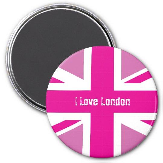 I Love London Pink Union Jack Magnet