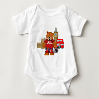 I love LONDON Teddy Bear Baby Bodysuit
