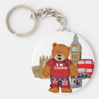 I Love London -Teddy Bear Basic Round Button Key Ring