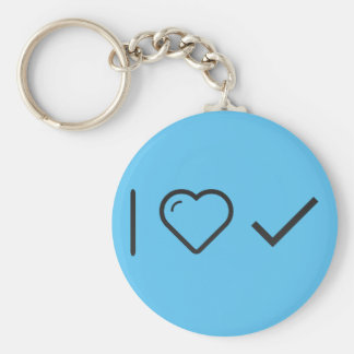 I Love Long Checks Basic Round Button Key Ring