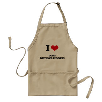 I Love Long Distance Running Aprons