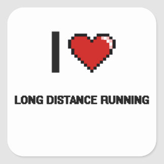 I Love Long Distance Running Digital Retro Design Square Sticker