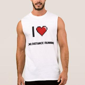 I Love Long Distance Running Digital Retro Design Sleeveless T-shirt