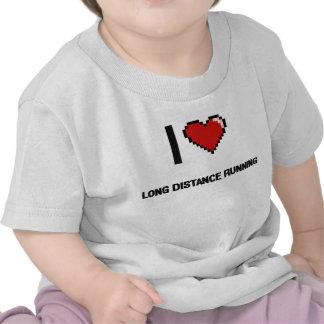 I Love Long Distance Running Digital Retro Design T-shirt