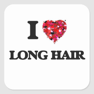 I love Long Hair Square Sticker