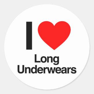 i love long underwears round stickers