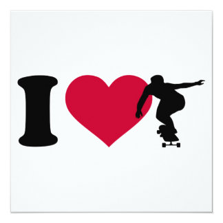 I love Longboarding 13 Cm X 13 Cm Square Invitation Card
