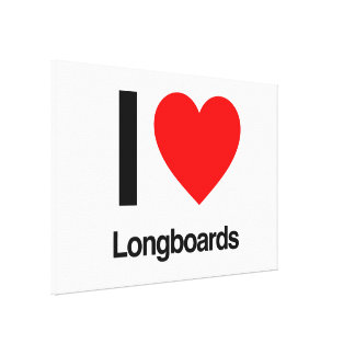 i love longboards stretched canvas prints