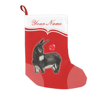 I Love Longears Demure Donkey Small Christmas Stocking