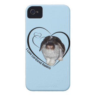I Love Lop-Eared Rabbits iPhone 4 Case (Blue)