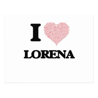 I love Lorena (heart made from words) design Postcard