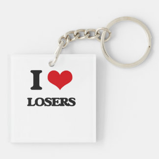 I Love Losers Double-Sided Square Acrylic Keychain