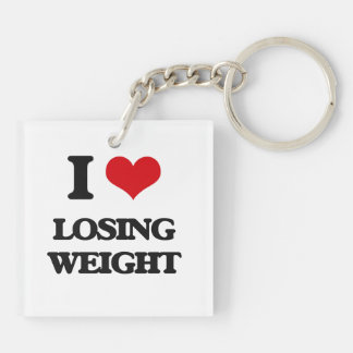 I Love Losing Weight Double-Sided Square Acrylic Key Ring
