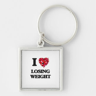 I Love Losing Weight Silver-Colored Square Key Ring