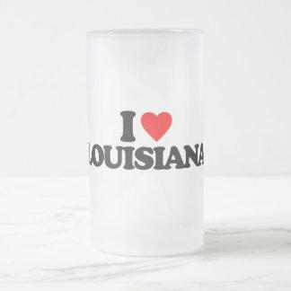 I LOVE LOUISIANA FROSTED GLASS MUG