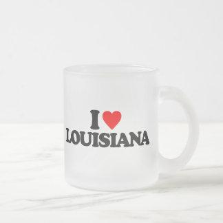 I LOVE LOUISIANA 10 OZ FROSTED GLASS COFFEE MUG