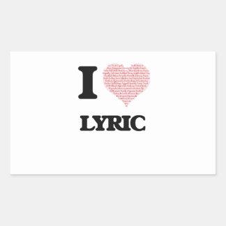 I love Lyric (heart made from words) design Rectangular Sticker