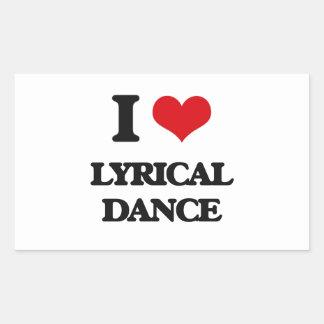 I Love Lyrical Dance Rectangular Stickers