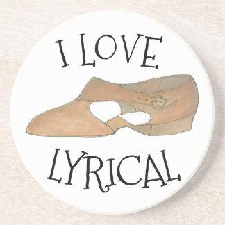 I Love Lyrical Tan Modern Dance Teacher Shoe Coaster